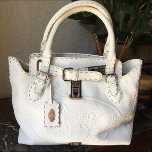 Fendi Selleria Borghese White Leather Satchel Auth